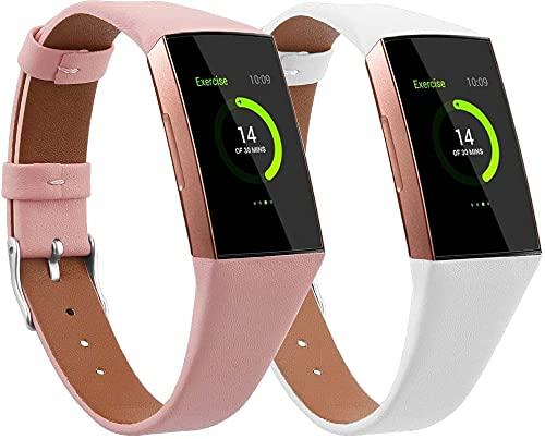 Gransho Correa de Reloj Piel Compatible con Fitbit Charge 4 / Charge 4 SE/Charge 3 SE/Charge 3, Correa/Banda/Pulsera/Strap (Pattern 2+Pattern 3)
