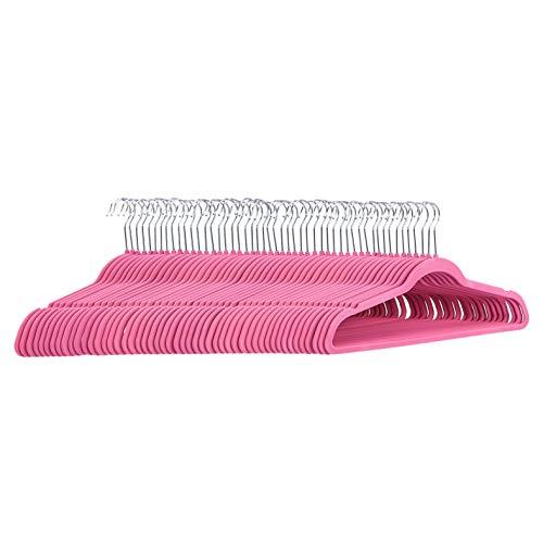 Amazon Basics - Perchas de terciopelo para trajes, color rosa, 50 unidades