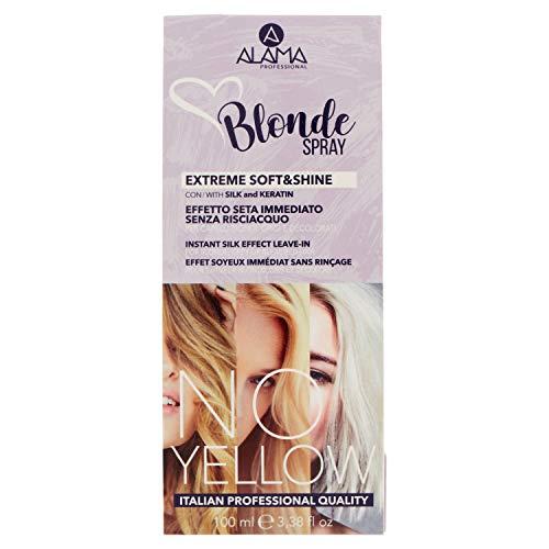 Alama Professional No Yellow Blonde Spray Extreme Soft&Shine - Effetto Seta Immediato - Senza Risciacquo per Capelli Biondi, Grigi o Decolorati - 100