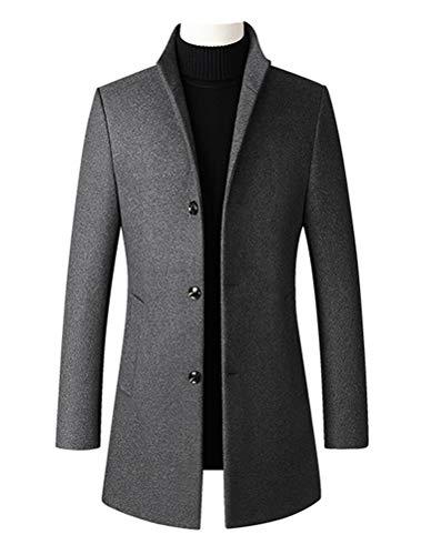 Minibee Men's Trench Woolen Coat Winter Stylish Long Slim Fit Luxury Wool Blend Topcoat Business Down Jacket XL