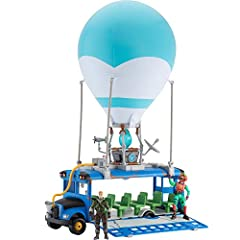 Squad up and get ready to drop in with the Fortnite Battle Bus Vehicle! Inspired by the popular Vehicle from Epic Games' Fortnite, this 14-inch deluxe Battle Bus features game-accurate details. This awesome toy comes with 4-inch highly-articulated Re...
