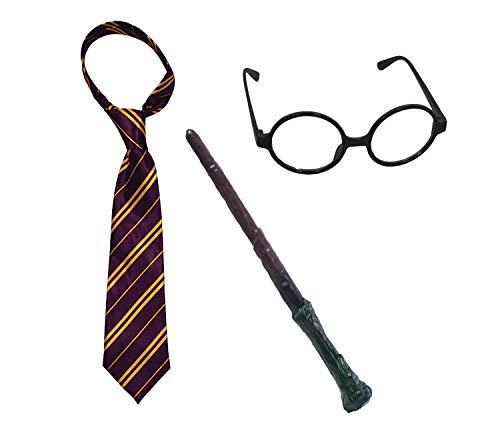 MiniMochi Harry Varita Gafas Corbata Kit Potter Accesorios de Mago para Niños Adultos Halloween Carnaval Fiesta Cumpleaños Cosplay Disfraz, 3 Pcs