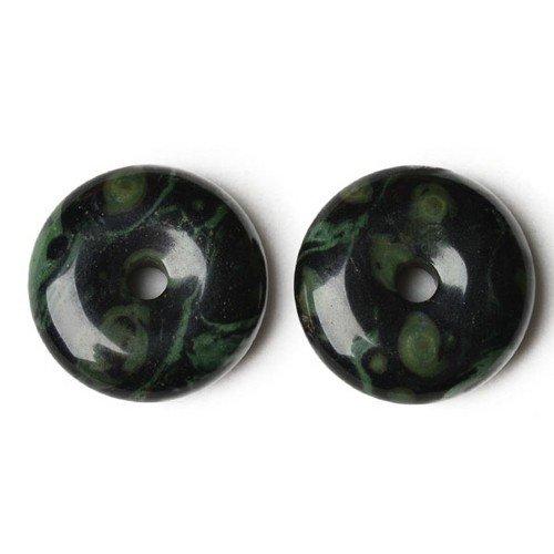 Wholesale Kambaba Jasper Donut Charm Pendant Green/Black 40mm 5 Packs of 1