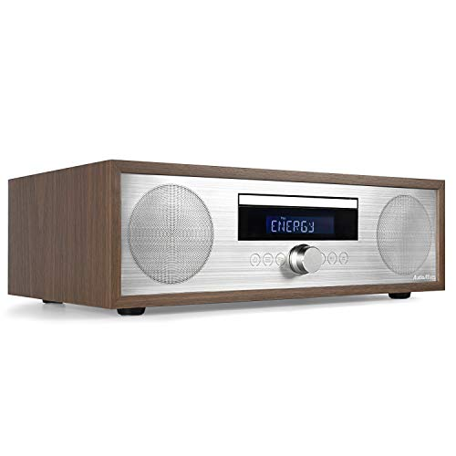 AudioAffairs MCD 010 | DAB Plus Radio mit CD-Player | Kompaktanlage mit Bluetooth | Digitales CD Radio | Stereoanlage | LC Display | Mikroanlage | USB | AUX-IN | 50 Watt | Fernbedienung | Holz-Optik