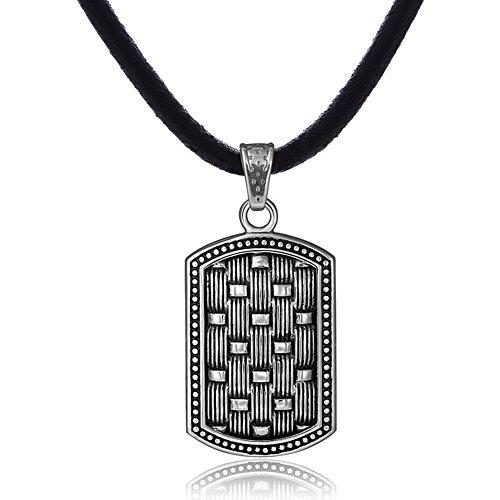 DonDon Collar de Caucho 50 cm y Colgante Chapa de Perro de Acero Inoxidable para Hombres en Bolsa de...