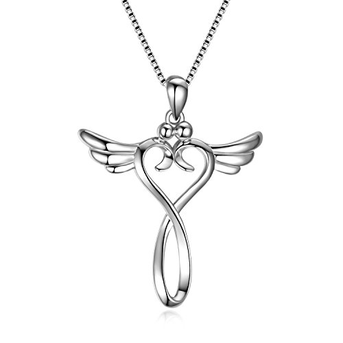 Prämie Kreuz Kette Damen Silber 925, Flügel herz Anhänger Kette Damen Halskette Silber Schmuck kette für mädchen mutter tochter