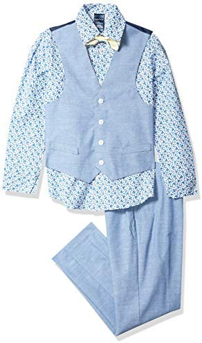 Nautica Boys Toddler 4 Piece Set with Dress Shirt Bow Tie Vest and Pants Double Dutch 4T product image