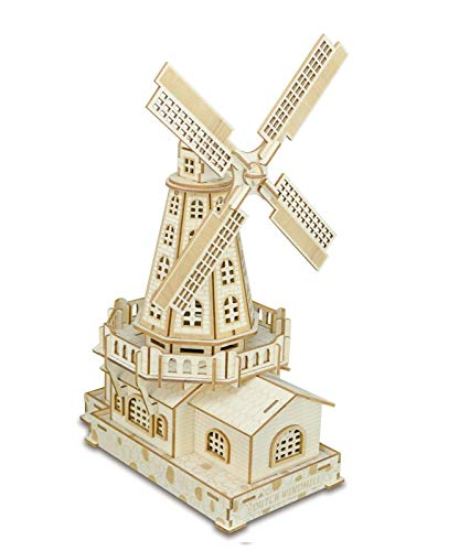 XLQ 3D Puzzles - Wooden Dutch Windmills Toys,DIY Assembly Model Kits for Girls And Boy (127 Piece)