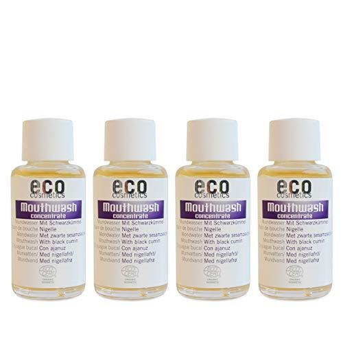 ECO COSMETICS mondwater (4 x 50 ml), milde kruidensmaak, biologisch mondwater, veganistisch, fluoridevrij, natuurlijke cosmetica