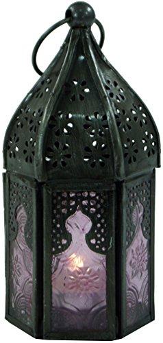 Guru-Shop Orientalische Metall/Glas Laterne in Marrokanischem Design, Windlicht, Pink, Farbe: Pink, 14x6x6 cm, Orientalische Laternen