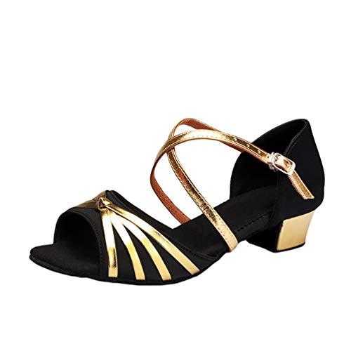 LaoZan Mädchen Kleinkind Tanzschuhe Latino Absatz Schuhe für Salsa Tanzen Damen Tango Ballsaal Sandalen Schuhe (Schwarz, Größe 39)