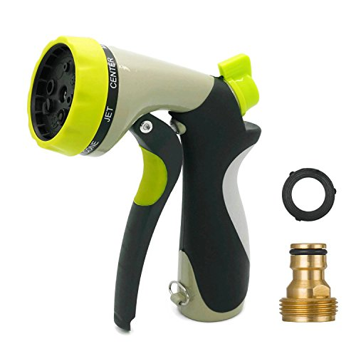 Boclay garden hand shower, 8 nozzles, multi-function garden sprayer garden spray with tap piece 3/4 inch brass tap connector, rubber hose washer for car washing, garden irrigation, pet washing