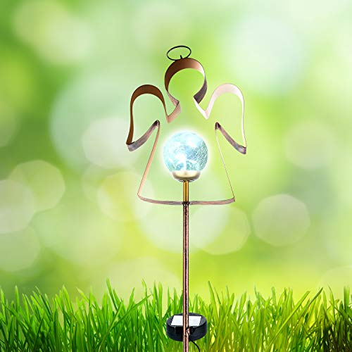 ExcMark Solar Lights Outdoor Decorative Angel for Garden/Yard/Lawn/Cemetery Grave Decorations with Glass Globe Light. (Angel Stake, 1 Pack)