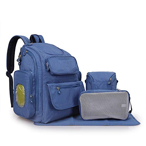 Triplsun grote capaciteit multifunctionele waterdichte mama tas mode vijfdelige pak Lichtblauw