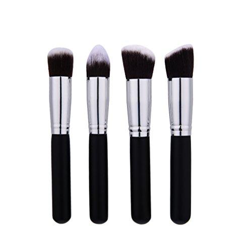 MagiDeal 4pcs Kit de Pinceau Maquillage Professionnel Ombre à Paupière Gris Blush Fondation Pinceau Poudre Fond de Teint Anti-cerne