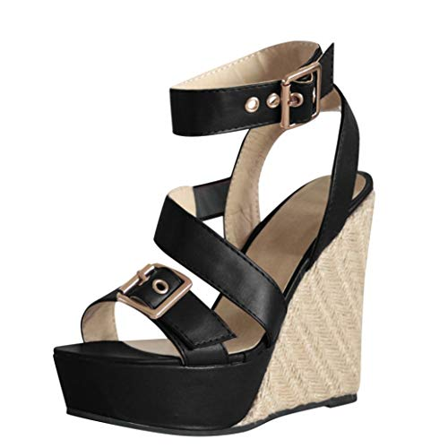 Zapatos De Cuña Para Mujer Plataforma De Verano Tacón Alto Peep Toe Slingback Oficina De Vacaciones De Ocio Señoras Hebilla Correa Sandalias