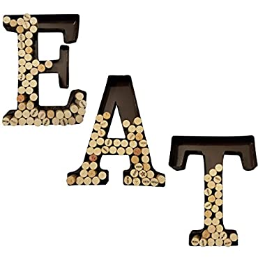 Metal Wine Cork Holder Hanging Letters - All Three Letters E A T. Decorative Display Wall Art Decor Gift For Any Wine Lover.
