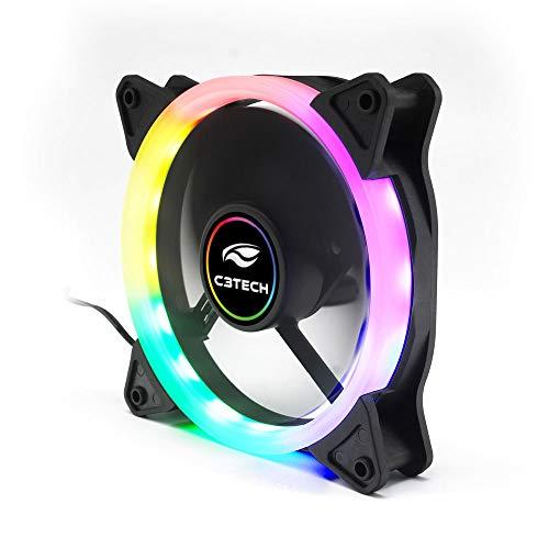Cooler Fan C3Tech F7-L200RGB Gaming 12cm - Com Iluminação RGB Baixo Ruido 12v 1200RPM, Multicor