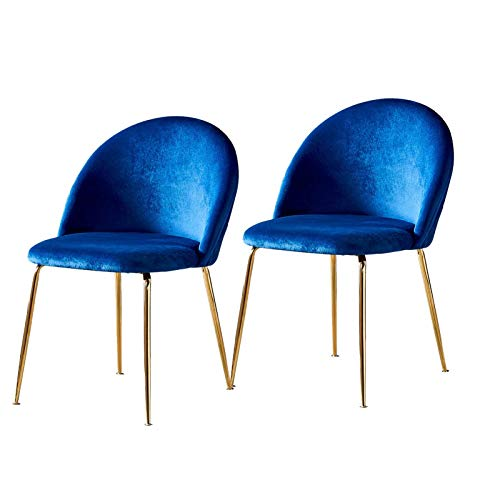 Velvet Dining Chair Backrest Seat Metal Chair Legs Comfortable Office Chairs Modern Living Room Bedroom Kitchen & Lounge (Color : Navy, Size : 2PCS)