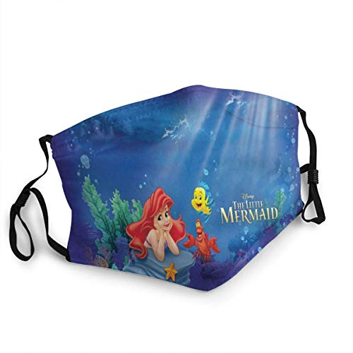 Disney The Little Mermaid Adults Dust Face Cover Washable Mouth Guard Soft Guard Reusable Breathable Light Comfortable Windproof Outdoor Sports Travel/Working/Fishing/Motor/Running/Cycling/