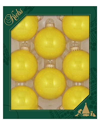 Christmas By Krebs Made in The USA Designer Seamless Glass Christmas Ball Ornaments, 2 5/8' (67mm), Full Sun Yellow, 8 Pieces