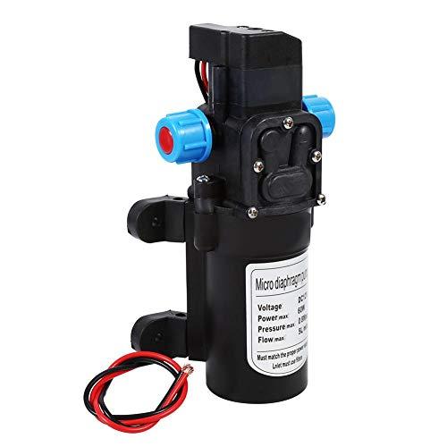 Bomba de agua eléctrica 5L/min DC 12V 60W Bomba de diafragma autocebado con interruptor de presión integrado para lavadora de alta presión, presión máxima de trabajo 115PSI/0.8MPA