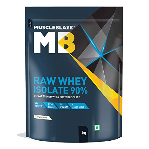 MuscleBlaze Raw Whey Isolate 90% with Digestive Enzymes (Unflavoured, 1 kg / 2.2 lb, 33 Servings)