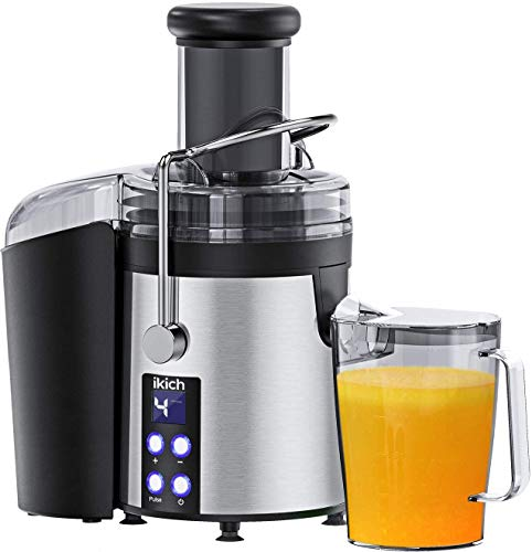 IKICH Centrifugal Juicer 4 Speed Juice Extractor Real 3'' Feeder Chute, Digital Display Juicer Maker Creates More Juice and High Nutrient Juicer Machine with 16oz Portable Bottle and Recipes