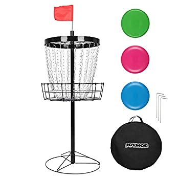 JOYMOR Portable Disc Golf Basket Practice 24-Chain Metal Golf Goals Baskets Three Golf Discs and Carrying Bag  Black   Black