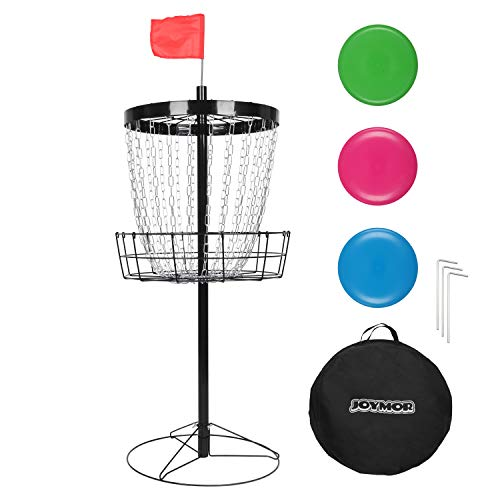JOYMOR Portable Disc Golf Basket Practice 24-Chain Metal Golf Goals Baskets, Three Golf Discs and Carrying Bag (Black) (Black)