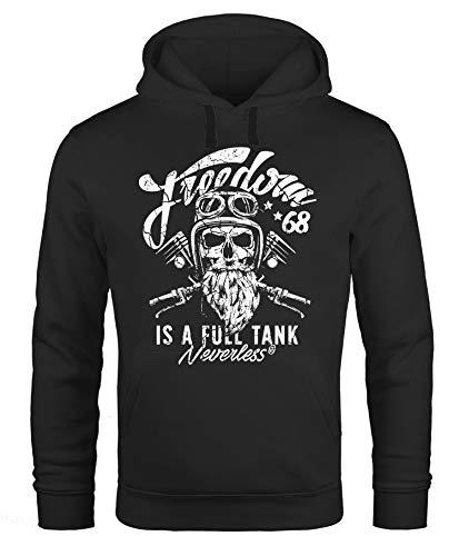 Preisvergleich Produktbild Neverless Herren Long-Sleeve Biker Motorrad Motiv Freedom is a Full Tank Skull Totenkopf schwarz 3XL