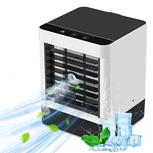 Mini Condizionatore Portatile, Climatizzatore Portatile, Air Cooler con 3 Velocità del Vento Regolabili 3 in 1 Evaporativo Refrigeratore D'aria Umidificatore per Casa/Ufficio, ricarica USB (Nero)
