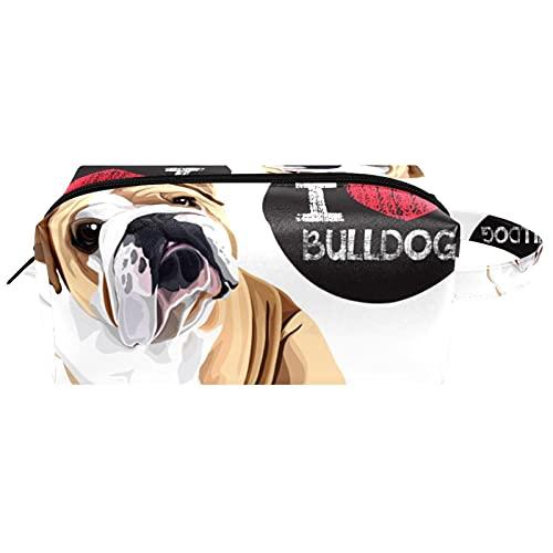 Neceser de Maquillaje Estuche Escolar para Cosméticos Bolsa de Aseo Grande,Retrato de Perro doméstico Bulldog Raza