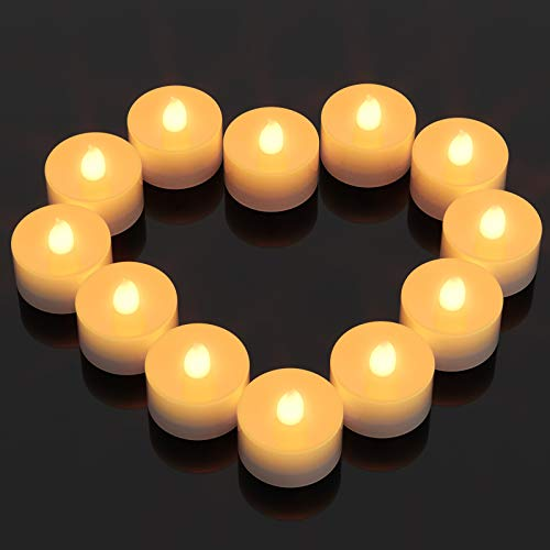 Flameless LED Candles, Ymenow 24pcs Battery Operated Flickering Tealight Candle with Rotary Switch for Home Bedroom Party Holiday Decor- Warm White
