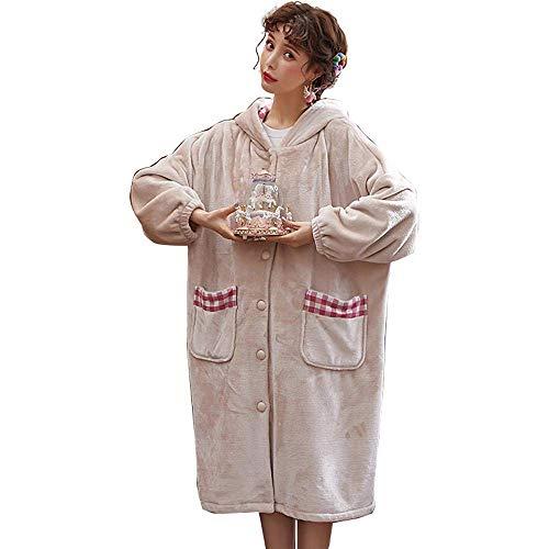 KANJJ-YU Las Mujeres túnicas Invierno Caliente Espesan la Ropa de Noche de Las Mujeres del Traje de Franela de Manga Larga Ropa de Dormir Dulce Albornoces Polar de Coral Homewear, XL Ropa de baño