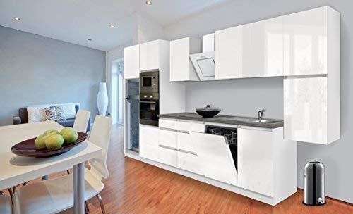 respekta Premium bezuchwytowa kuchnia 395 cm biały wysoki połysk z lodówką Softclose/lodówką 144 cm i płytą ceramiczną