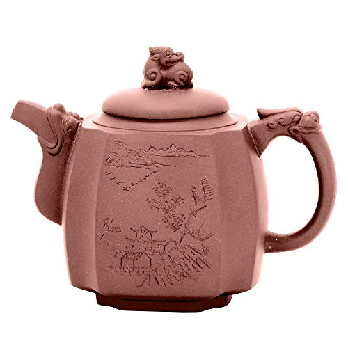 ufengke 17oz Yixing Quartett Drachen Statue Zisha Teekanne,Grosse Kapazität Handgemachte Keramik Teekanne für Kung Fu Tee,500ml