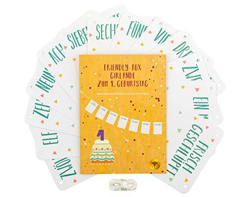 Friendly Fox Girlande zum 1. Geburtstag - Fotogirlande - Wimpelkette - Kinderzimmer Dekoration - Meilensteine im 1. Lebensjahr - Bilderrahmen
