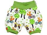 Kleine Könige Kurze Pumphose Baby Jungen Shorts · Modell Fuchs Hase Fox on Bike, grün · Ökotex 100 Zertifiziert · Größe 86/92