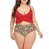 Conjunto Bikini Sujetador Bragas Bañador 2 Piezas, Los juegos de bikini de cintura alta para mujer se adaptan a los trajes de baño más tamaño 2 piezas Traje de baño Spaghetti Correa con volantes cruza