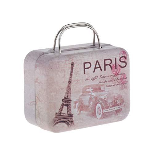 Mini Maleta para Casa de Muñecas, Dollhouse Equipaje de Viaje para Muñecas de 1/6 BJD 7.2x5.7x3.5cm - Rosa Oscuro