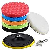 Inntek Kit di spugne lucidanti con adattatore per trapano e cuscinetti per ceretta in lana, set di 7 pezzi di tamponi per lucidatura per auto, lucidatrice e ceretta