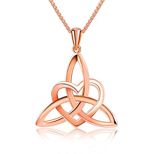 S925 Sterling Silver Celtic Knot Triangle Vintage Love Heart Pendant Necklace (Rose Gold Color)