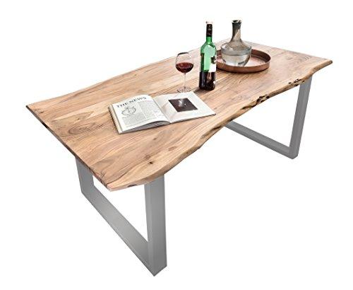 SalesFever Esszimmertisch Salito aus Massiv-Holz 160x85 cm | echte Baumkante | U-Gestell in Silber | Naturfarben | Akazie ESS-Tisch