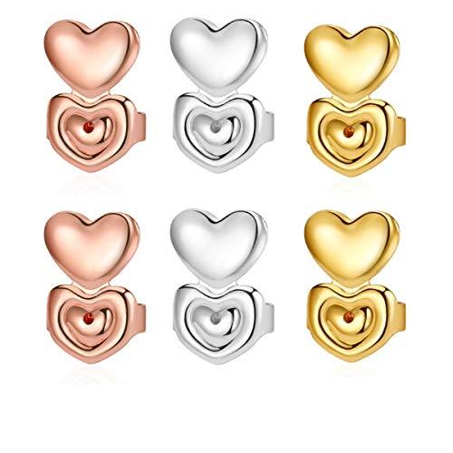 3 Pairs Earring Lifters Ear Lobe Support Backs Hypoallergenic Heart Shape Firmly (Heart Shape)