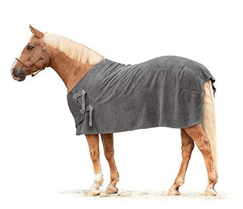 Lill's Manta para caballos, 100% algodón orgánico, color gris, antracita, caballos, sostenible (XS | longitud de espalda de 130 cm)