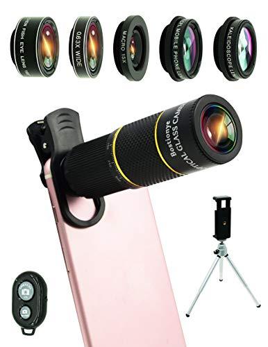 Cell Phone Camera Lens Kit,14 in 1 Universal 22x Zoom Telephoto,0.63Wide Angle+15X Macro+198°Fisheye+2X Telephoto+Kaleidoscope+CPL/Starlight/Eyemask/Tripod/Remote Shutter,For Iphone Smartphone (black)