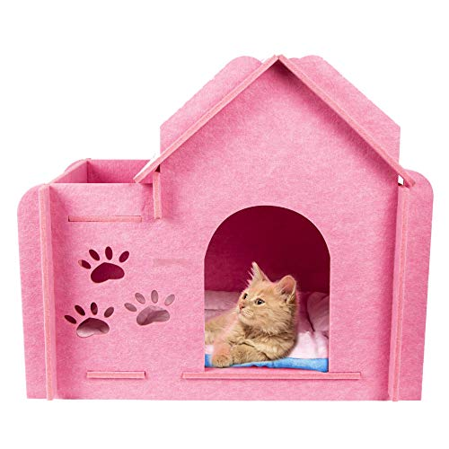 GEX Katzenhaus Bett Condos Karton Filz Kratzmöbel Indoor mit Fenster für kleine Hunde / Haustiere / Katzen mit weicher Liegematte Lovely (Pink)