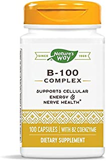 Natures Way Vitamin B-100 Complex Capsules For Energy And Nerves - 60 Ea
