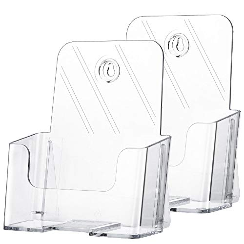 MaxGear 2 Pack Acrylic Brochure Holder 6 x 8 Inches Plastic Magazine Holder, Clear Literature Holder Trifold Pamphlet Display Stand for Wall Mount or Countertop